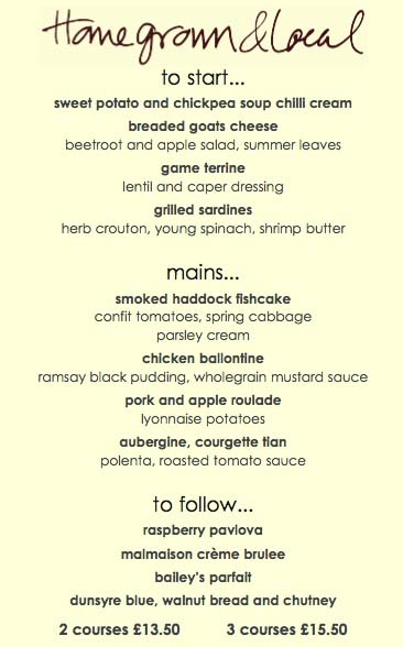 homegrown and local menu