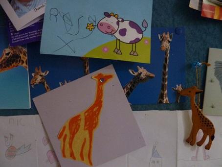 Rosy giraffe card copy