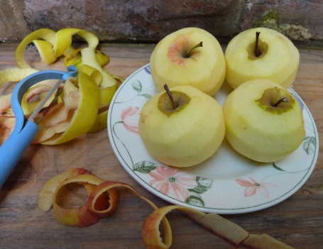 brie baked apples - peeled