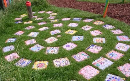 Gardeners World Live show garden 2005_mosaic path using bottle tops - nipitinthebud.co.uk
