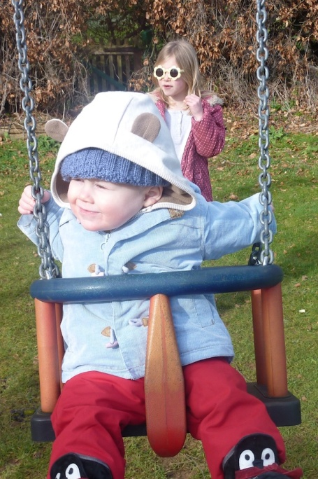 14-2-13 - Euan on swing pushed by Martha 4B