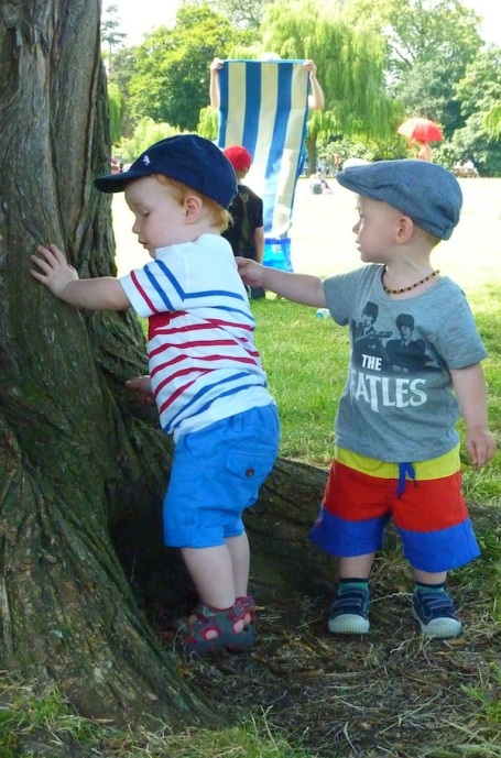 13-7-13 - Stratford_E and Zac by tree* 4B