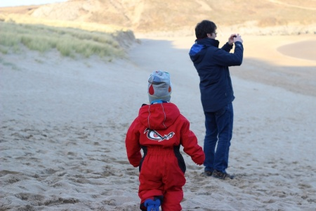Broad Haven beach_E and G taking picture 4B
