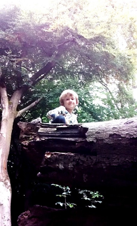 Crickley Hill_E on top of a fallen tree wearing DUNS willow top