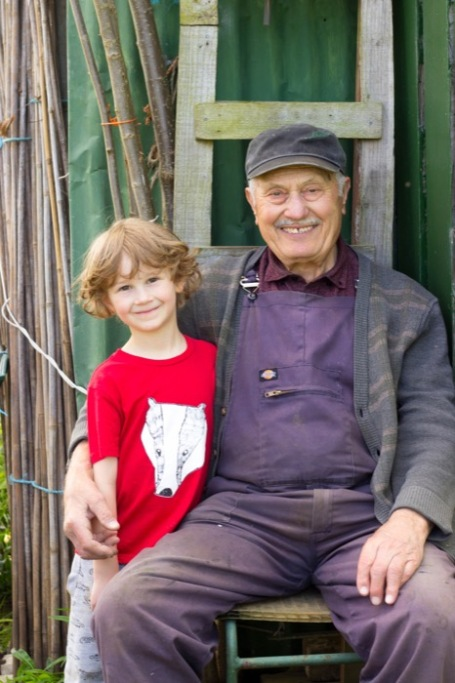 6 year old and 93 year old allotment buddies