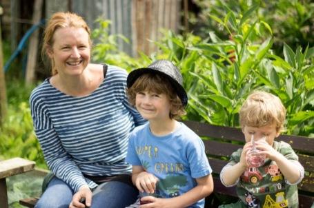 Mum and boys on the plot - nipitinthebud.co.uk